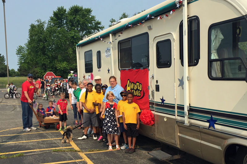 Getting ready for the DeForest Parade - July 4, 2015