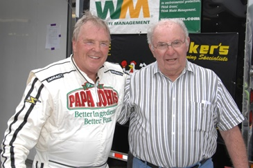 Mr. Dick Trickle and Mr. Miles Melius at Slinger Nationals (photo by Russ Lake)